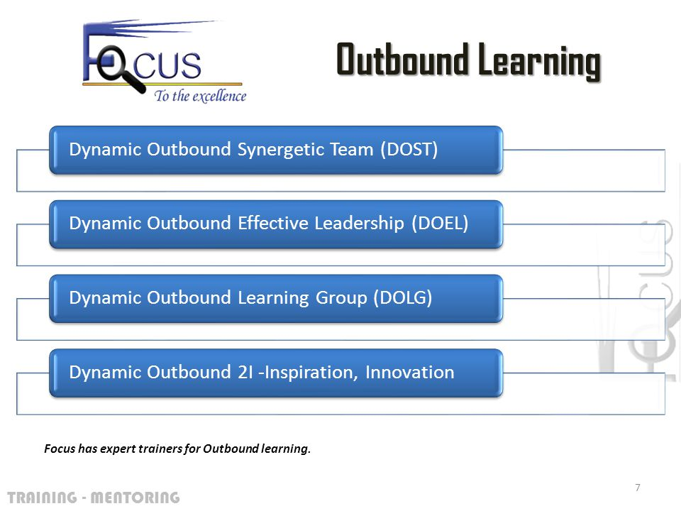TRAINING - MENTORING Dynamic Outbound Synergetic Team (DOST)Dynamic Outbound Effective Leadership (DOEL)Dynamic Outbound Learning Group (DOLG)Dynamic