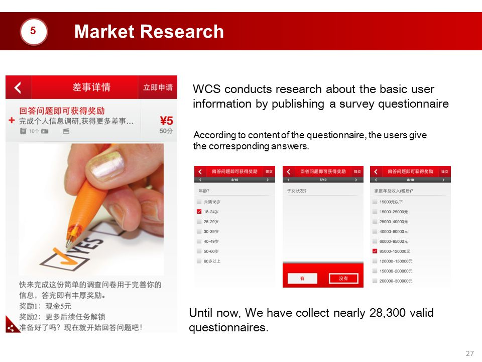 27 Market Research WCS conducts research about the basic user information by publishing a survey questionnaire According to content of the questionnai