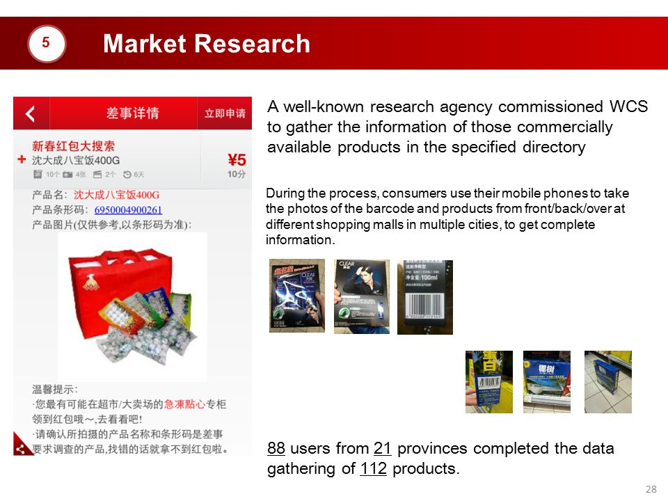 28 Market Research A well-known research agency commissioned WCS to gather the information of those commercially available products in the specified d
