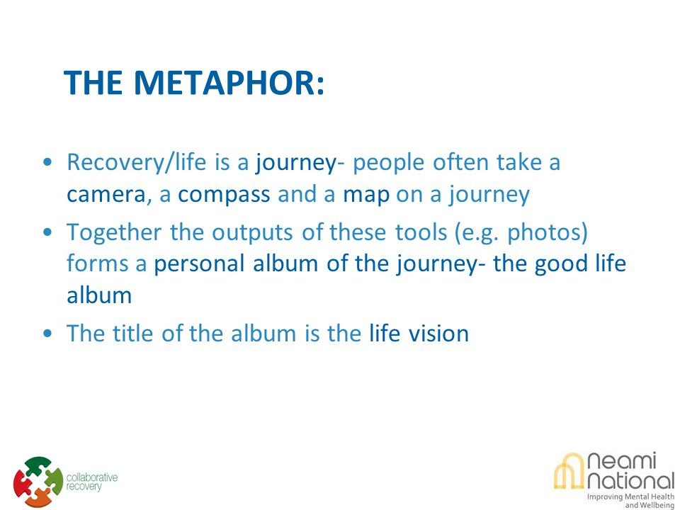 THE METAPHOR: Recovery/life is a journey- people often take a camera, a compass and a map on a journey Together the outputs of these tools (e.g.