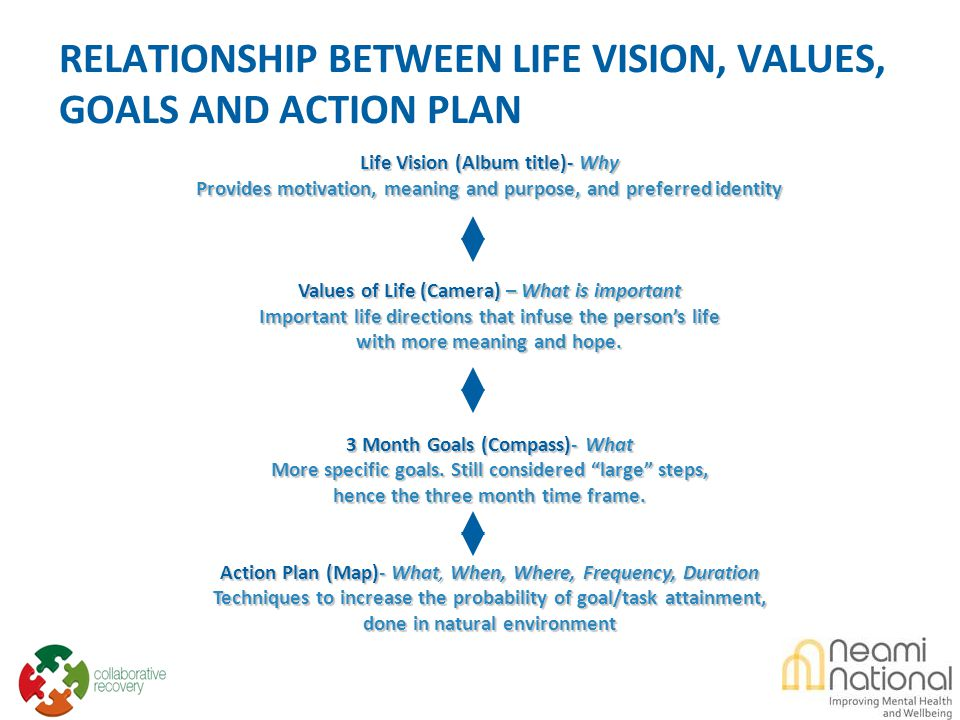 RELATIONSHIP BETWEEN LIFE VISION, VALUES, GOALS AND ACTION PLAN Life Vision (Album title)- Why Provides motivation, meaning and purpose, and preferred identity Values of Life (Camera) – What is important Important life directions that infuse the person's life with more meaning and hope.