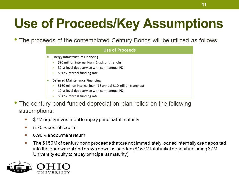 Use of Proceeds/Key Assumptions 11 The proceeds of the contemplated Century Bonds will be utilized as follows: The century bond funded depreciation pl