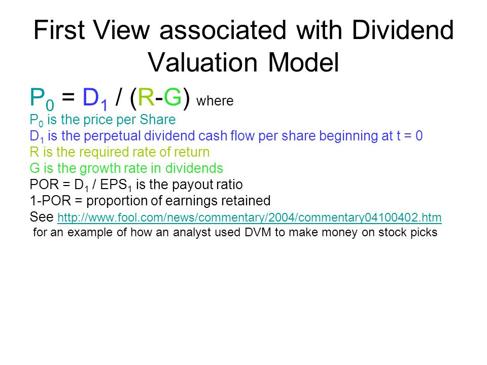 FIRST VIEW Dividends Are Directly Related to Intrinsic Value The value of a firm and its securities as the present value of a stream of dividends and/or particular definitions of free cash flow.