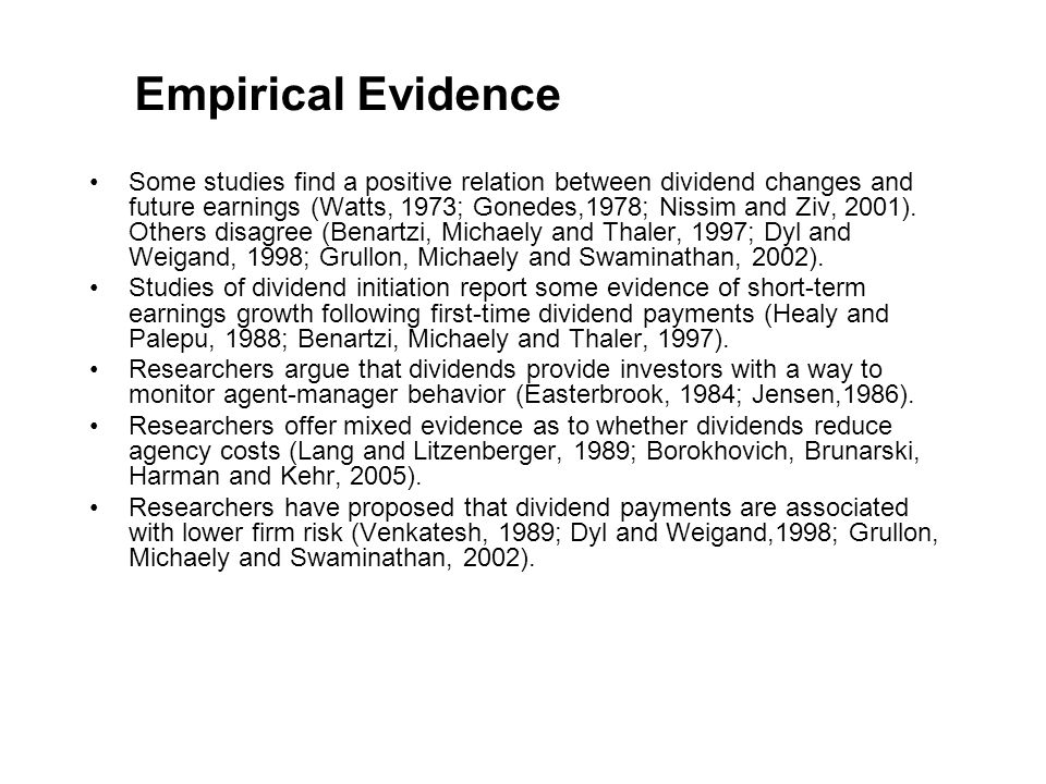 Recent Attack On Second View DeAngelo and DeAngelo (2005) present a voluminous and convincing critique of M&M s analysis, demonstrating that the finding of dividend irrelevance obtains because M&M s framework mandates 100% payouts — the effect of niggardly payouts cannot be considered in their model.
