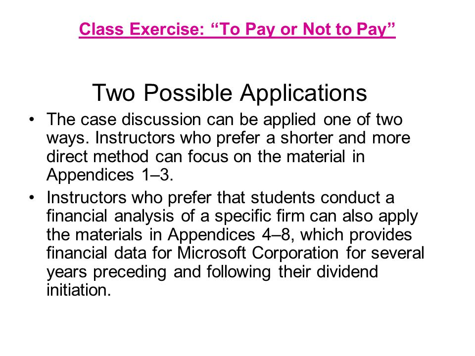 Class Exercise: To Pay or Not to Pay By working in teams where students are assigned specific roles, we utilize an experiential method that stresses cooperative and collaborative learning through peer group interaction and role-playing (Coleman, 1948; Collier, 1983; Meyers and Jones, 1993; Michaelsen, Watson and Black, 1989; McKeachie, 1994).