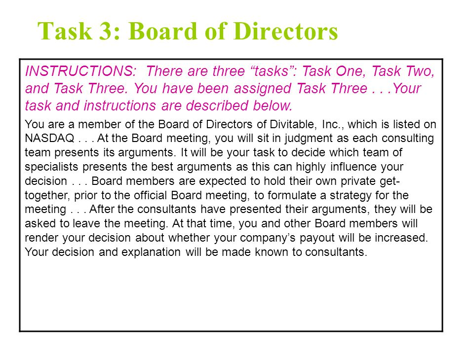 Task 2: Decreasing Payout INSTRUCTIONS: There are three tasks : Task One, Task Two, and Task Three.