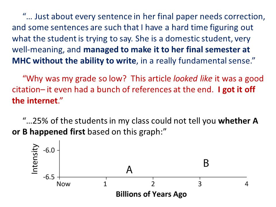 … Just about every sentence in her final paper needs correction, and some sentences are such that I have a hard time figuring out what the student is trying to say.