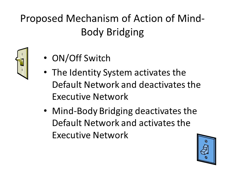 Proposed Mechanism of Action of Mind- Body Bridging ON/Off Switch The Identity System activates the Default Network and deactivates the Executive Network Mind-Body Bridging deactivates the Default Network and activates the Executive Network