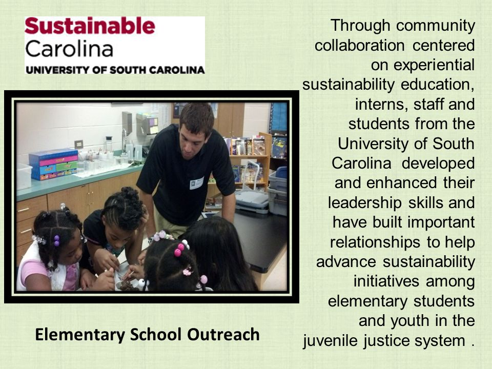 Through community collaboration centered on experiential sustainability education, interns, staff and students from the University of South Carolina developed and enhanced their leadership skills and have built important relationships to help advance sustainability initiatives among elementary students and youth in the juvenile justice system.