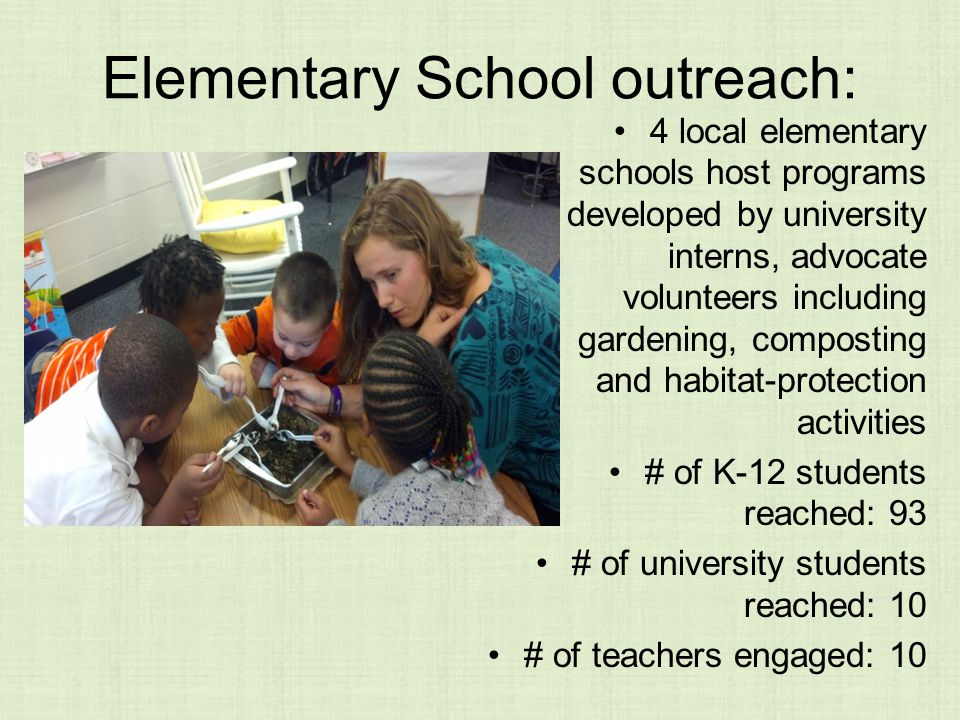 Elementary School outreach: 4 local elementary schools host programs developed by university interns, advocate volunteers including gardening, composting and habitat-protection activities # of K-12 students reached: 93 # of university students reached: 10 # of teachers engaged: 10