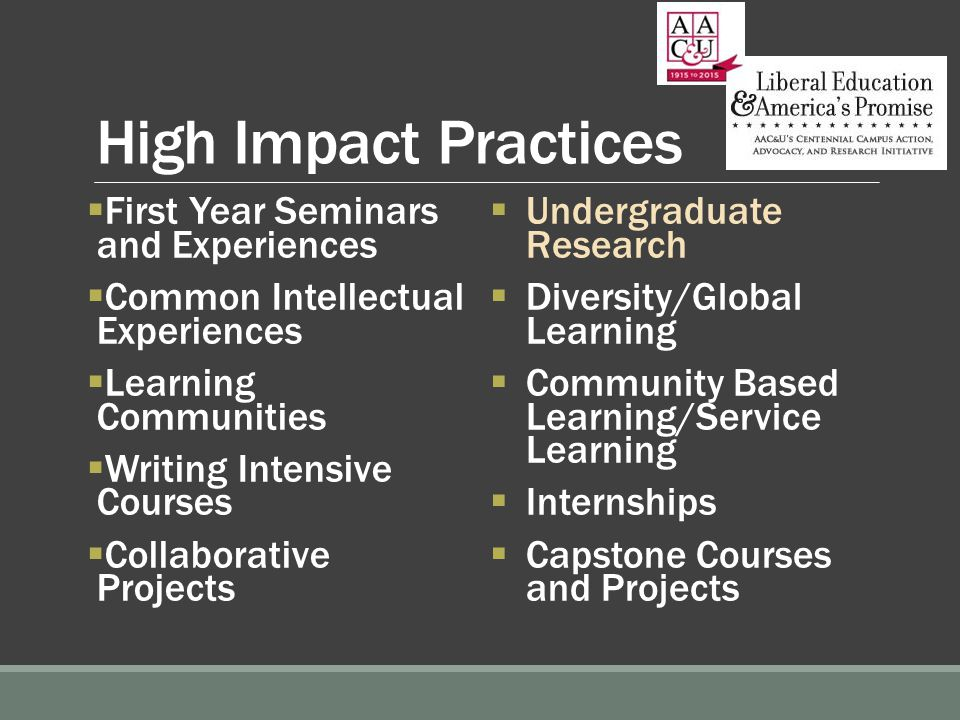 High Impact Practices  First Year Seminars and Experiences  Common Intellectual Experiences  Learning Communities  Writing Intensive Courses  Collaborative Projects  Undergraduate Research  Diversity/Global Learning  Community Based Learning/Service Learning  Internships  Capstone Courses and Projects