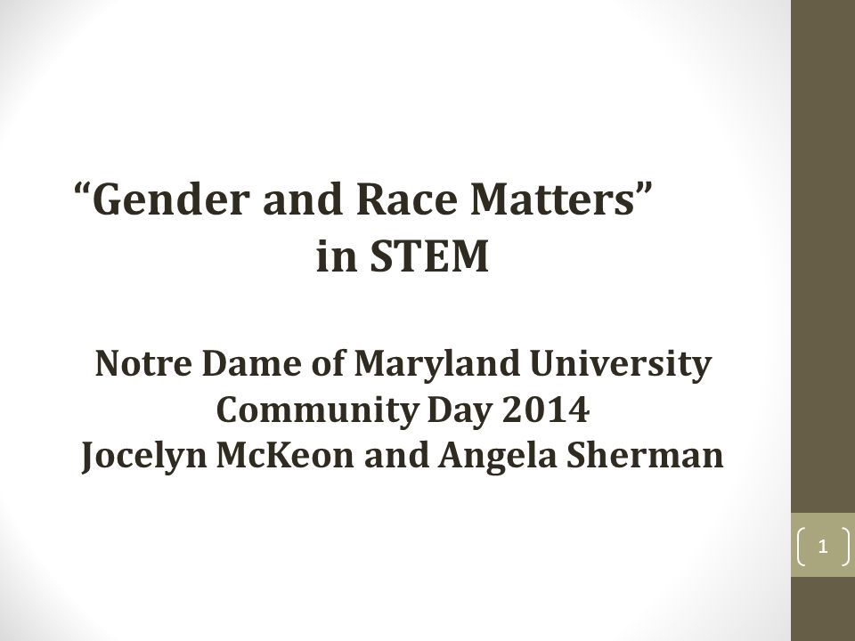 Gender and Race Matters in STEM Notre Dame of Maryland University Community Day 2014 Jocelyn McKeon and Angela Sherman 1