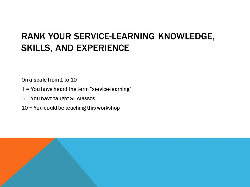 RANK YOUR SERVICE-LEARNING KNOWLEDGE, SKILLS, AND EXPERIENCE On a scale from 1 to 10 1 = You have heard the term service-learning 5 = You have taught SL classes 10 = You could be teaching this workshop