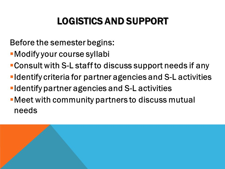 LOGISTICS AND SUPPORT Before the semester begins:  Modify your course syllabi  Consult with S-L staff to discuss support needs if any  Identify criteria for partner agencies and S-L activities  Identify partner agencies and S-L activities  Meet with community partners to discuss mutual needs