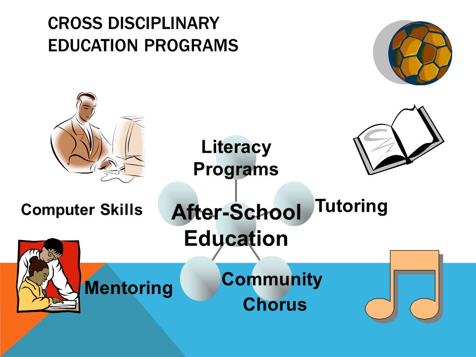 CROSS DISCIPLINARY EDUCATION PROGRAMS Community Chorus Tutoring Literacy Programs After-School Education Mentoring Computer Skills