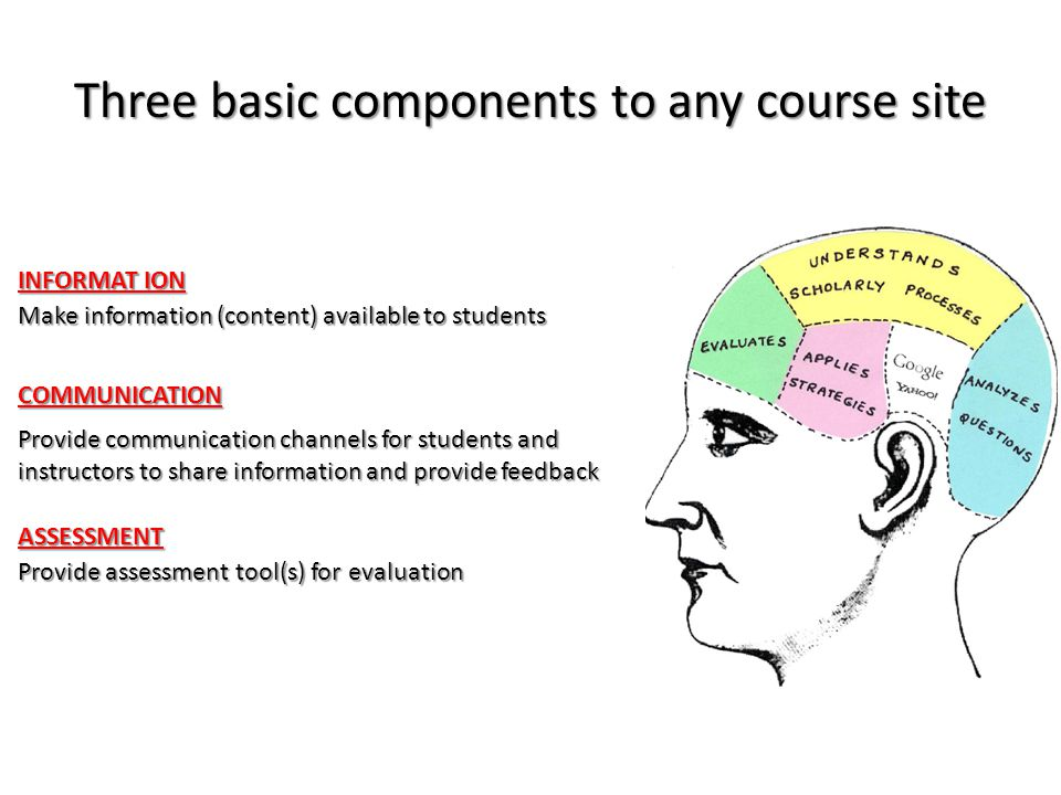 Three basic components to any course site Make information (content) available to students Provide communication channels for students and instructors to share information and provide feedback Provide assessment tool(s) for evaluation INFORMAT ION COMMUNICATION ASSESSMENT