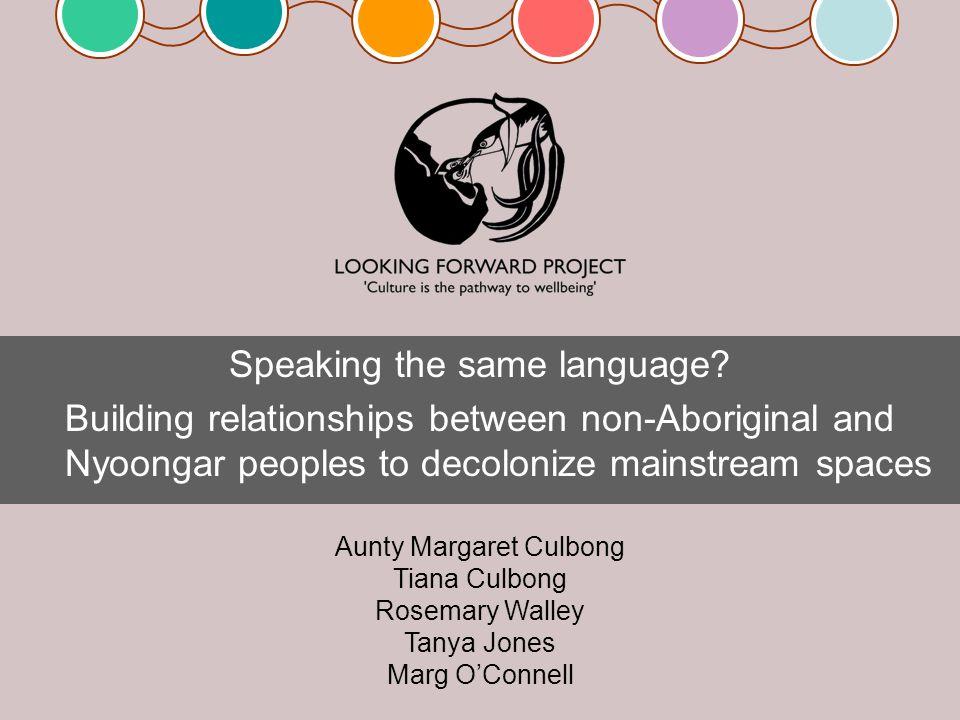 Speaking the same language.