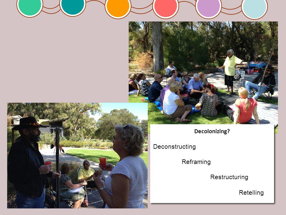 Decolonizing. Deconstructing Reframing Restructuring Retelling Decolonizing.