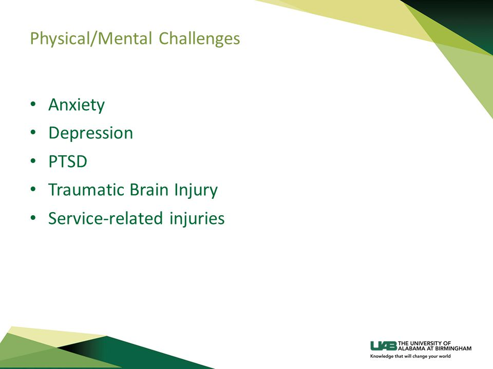 Physical/Mental Challenges Anxiety Depression PTSD Traumatic Brain Injury Service-related injuries