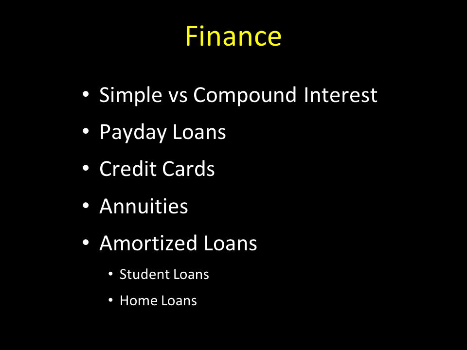 Finance Simple vs Compound Interest Payday Loans Credit Cards Annuities Amortized Loans Student Loans Home Loans