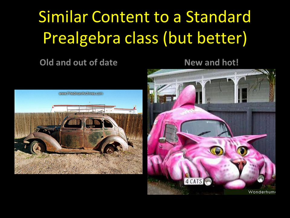 Similar Content to a Standard Prealgebra class (but better) Old and out of dateNew and hot!