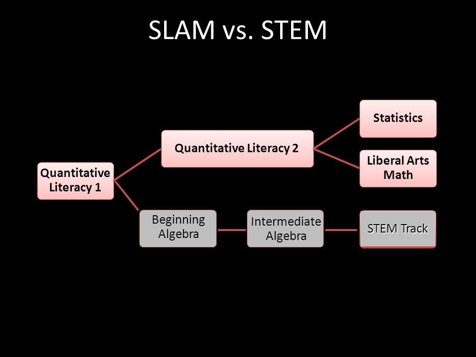 SLAM vs. STEM Quantitative Literacy 1 Quantitative Literacy 2 Statistics Liberal Arts Math Beginning Algebra Intermediate Algebra STEM Track
