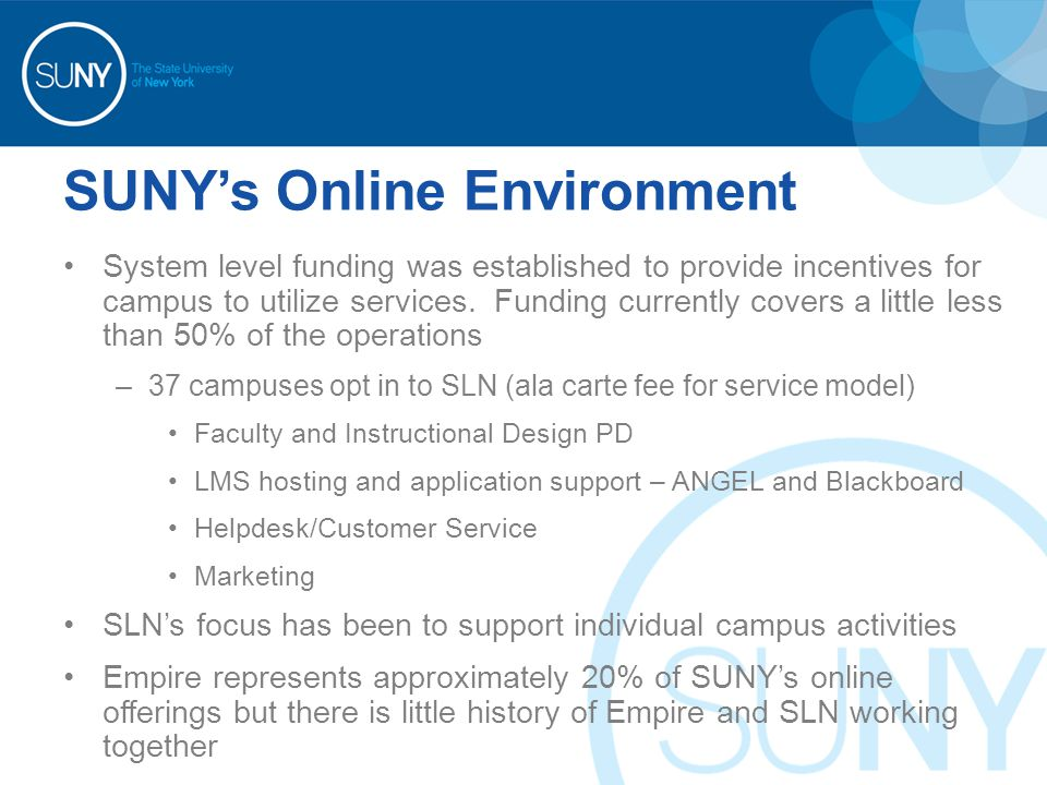 SUNY's Online Environment System level funding was established to provide incentives for campus to utilize services. Funding currently covers a little