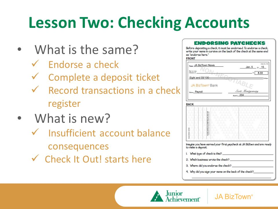 Lesson Two: Checking Accounts What is the same.