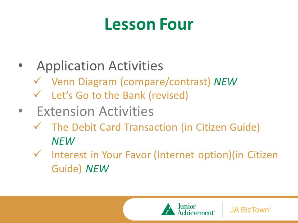Lesson Four Application Activities Venn Diagram (compare/contrast) NEW Let's Go to the Bank (revised) Extension Activities The Debit Card Transaction (in Citizen Guide) NEW Interest in Your Favor (Internet option)(in Citizen Guide) NEW