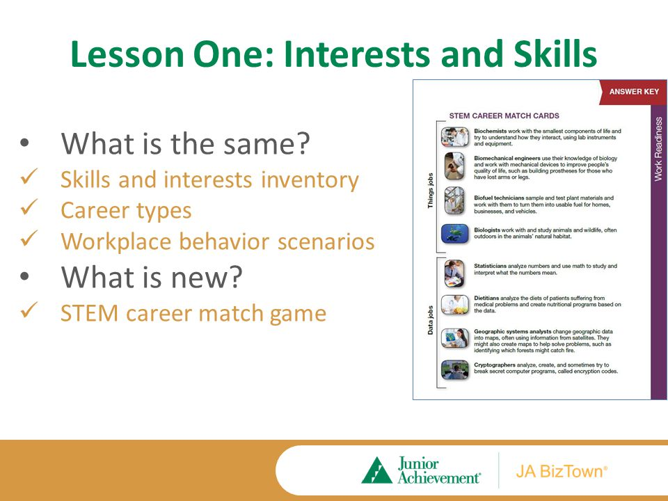 Lesson One: Interests and Skills What is the same.
