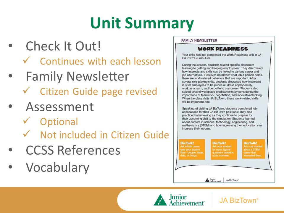 Unit Summary Check It Out.