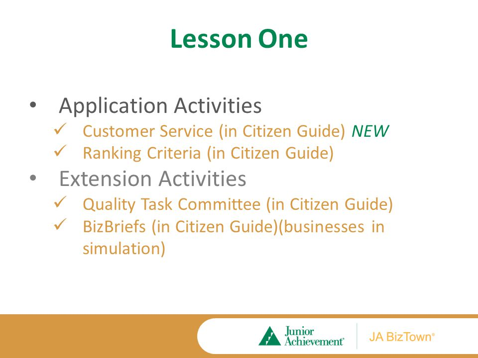 Lesson One Application Activities Customer Service (in Citizen Guide) NEW Ranking Criteria (in Citizen Guide) Extension Activities Quality Task Committee (in Citizen Guide) BizBriefs (in Citizen Guide)(businesses in simulation)