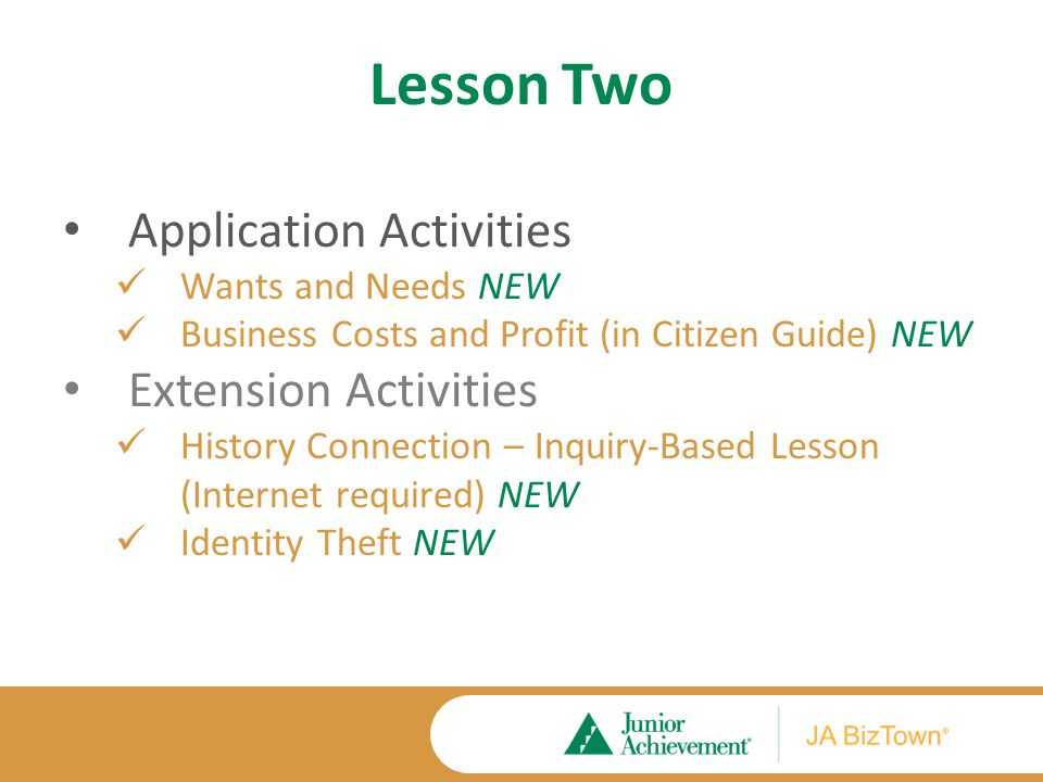 Lesson Two Application Activities Wants and Needs NEW Business Costs and Profit (in Citizen Guide) NEW Extension Activities History Connection – Inquiry-Based Lesson (Internet required) NEW Identity Theft NEW