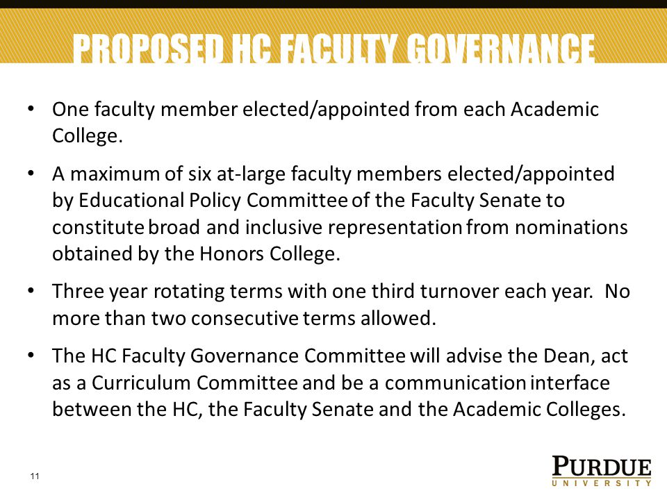 PROPOSED HC FACULTY GOVERNANCE Governance One faculty member elected/appointed from each Academic College. A maximum of six at-large faculty members e