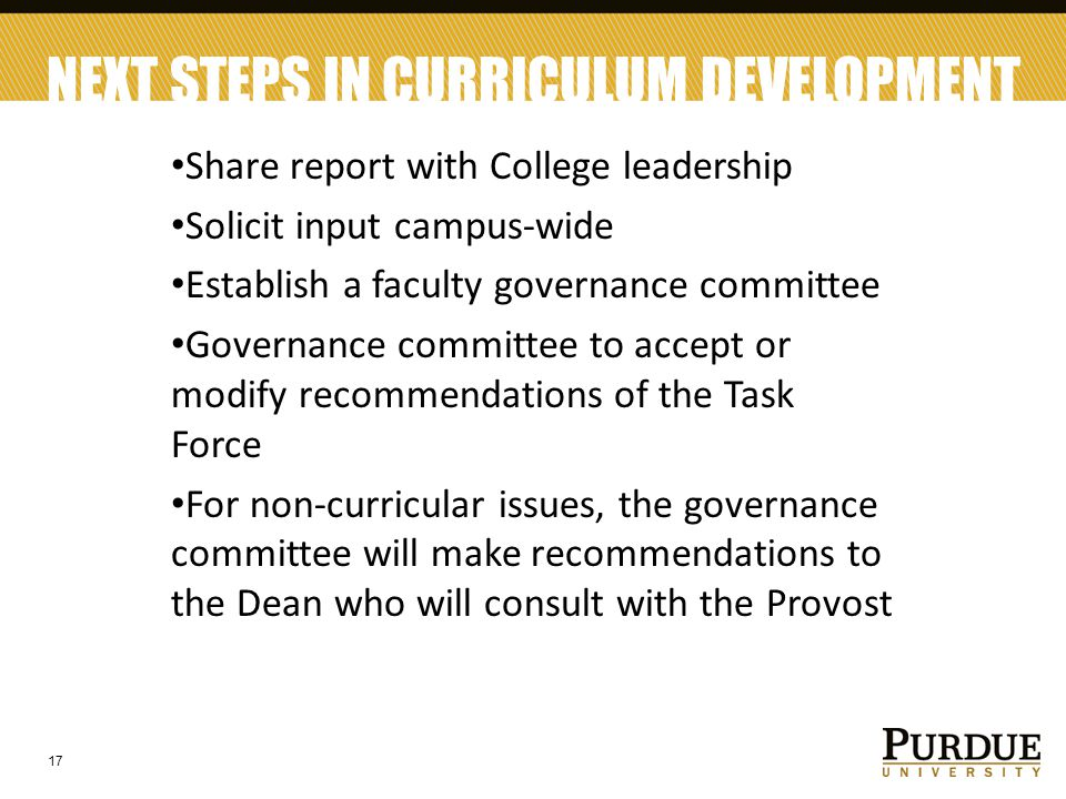 NEXT STEPS IN CURRICULUM DEVELOPMENT Share report with College leadership Solicit input campus-wide Establish a faculty governance committee Governanc