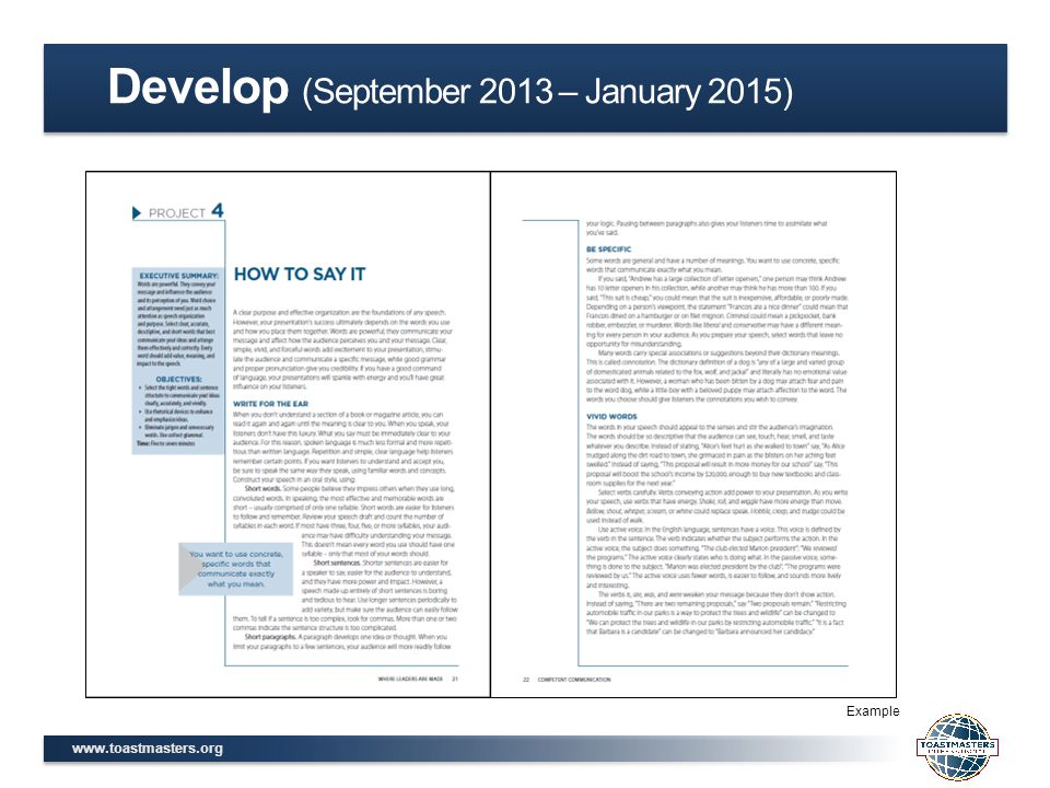 www.toastmasters.org Example Develop (September 2013 – January 2015)
