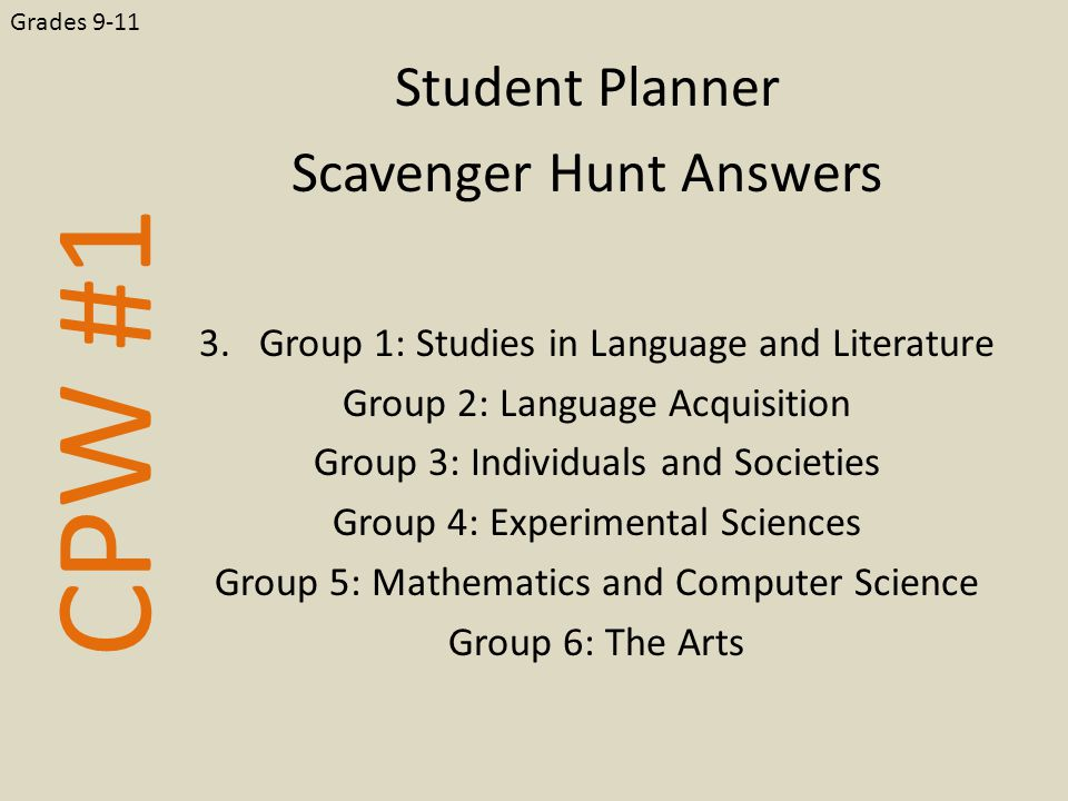 CPW #1 Student Planner Scavenger Hunt Answers Grades 9-11 3.