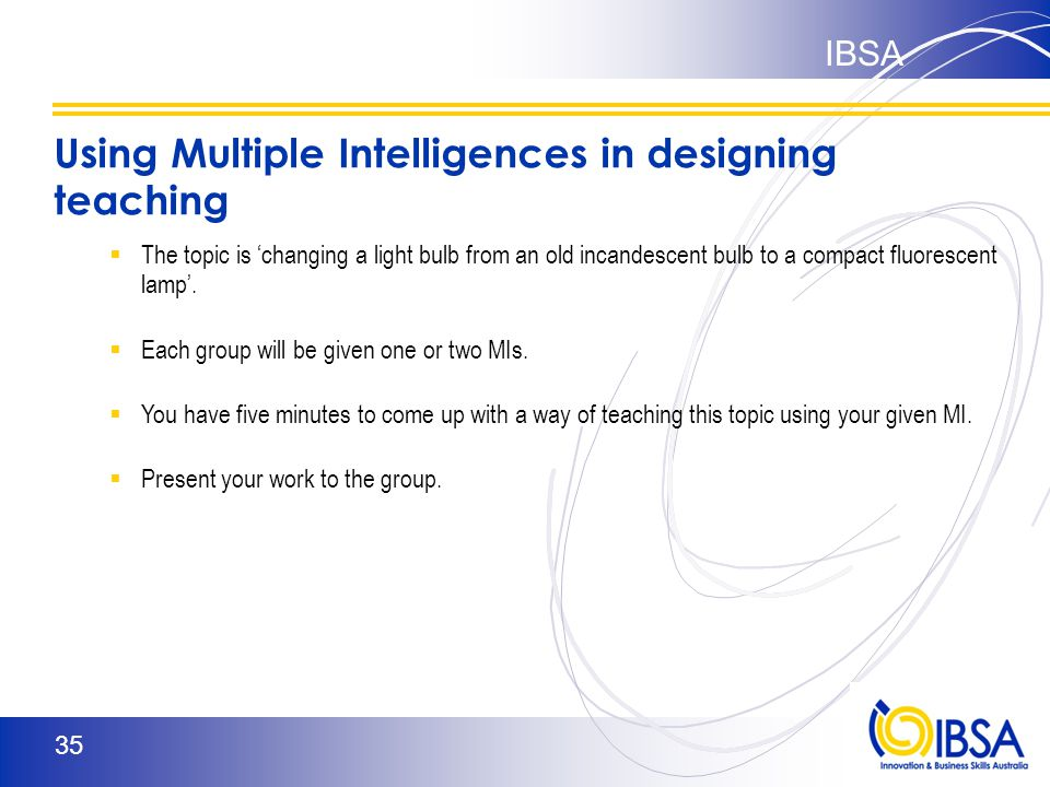 Birmingham Test The Implications of the MIs Reflect on your preferred Multiple Intelligences and the way you like to teach:  Which MIs are focused on in most education situations.