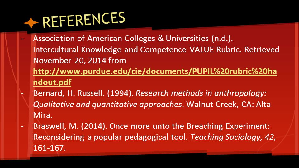 REFERENCES -Association of American Colleges & Universities (n.d.).