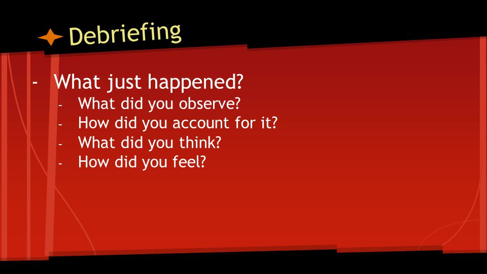 Debriefing -What just happened.- What did you observe.