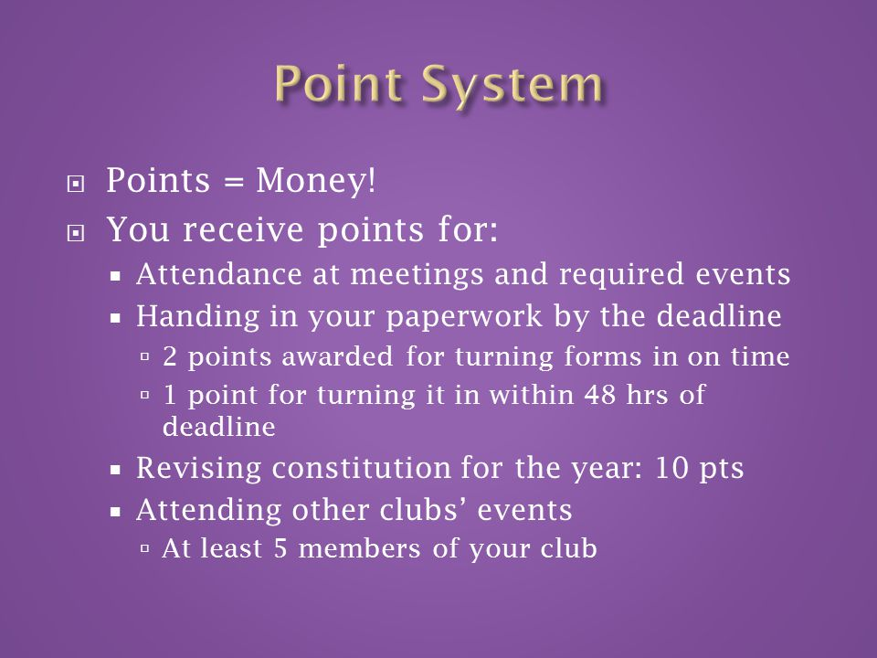  Points = Money.