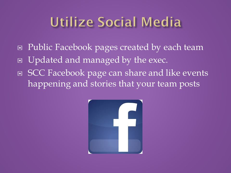  Public Facebook pages created by each team  Updated and managed by the exec.