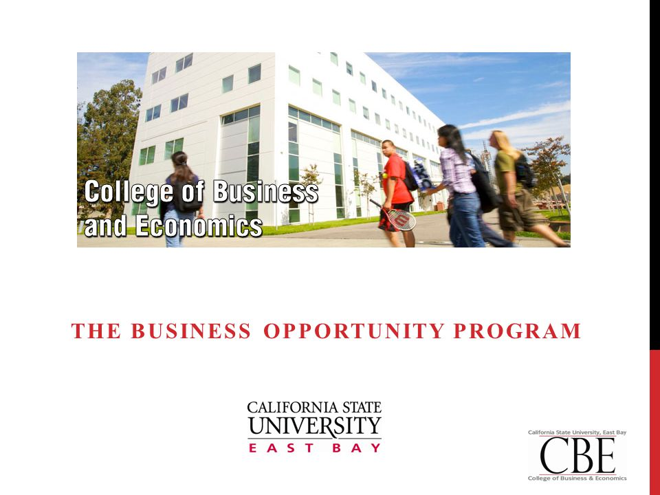 THE BUSINESS OPPORTUNTY PROGRAM (B.O.P.)  Represents commitment to regional stewardship  Provides structure and organization The Business Opportunity Program www.csueastbay.edu/businessopportunityprogram 2www.csueastbay.edu/businessopportunityprogram