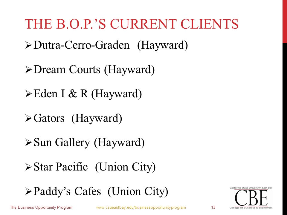 THE B.O.P.'S CURRENT CLIENTS  Dutra-Cerro-Graden (Hayward)  Dream Courts (Hayward)  Eden I & R (Hayward)  Gators (Hayward)  Sun Gallery (Hayward)