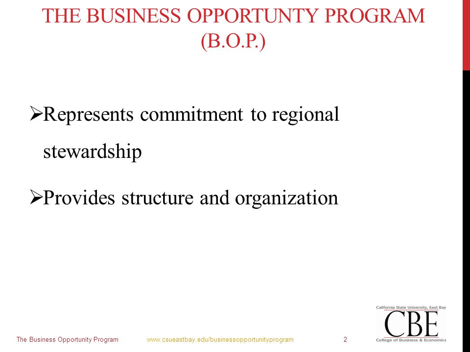 THE BUSINESS OPPORTUNTY PROGRAM (B.O.P.)  Represents commitment to regional stewardship  Provides structure and organization The Business Opportunit