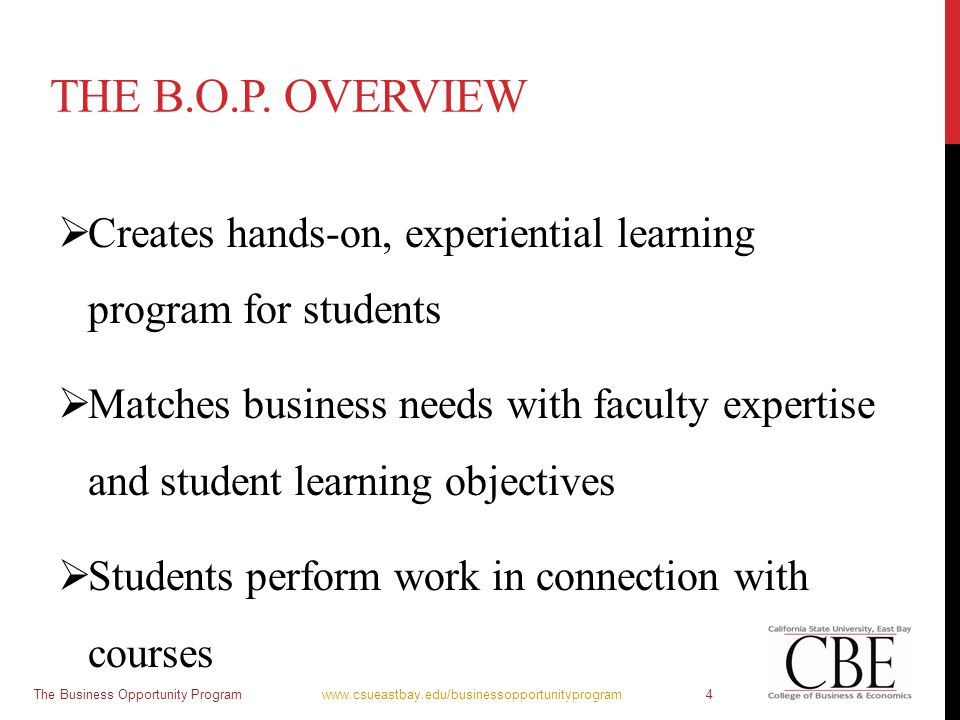THE B.O.P. OVERVIEW  Creates hands-on, experiential learning program for students  Matches business needs with faculty expertise and student learnin