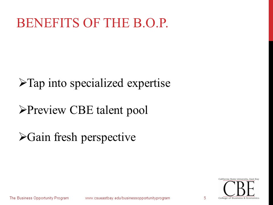 BENEFITS OF THE B.O.P.  Tap into specialized expertise  Preview CBE talent pool  Gain fresh perspective The Business Opportunity Program www.csueas