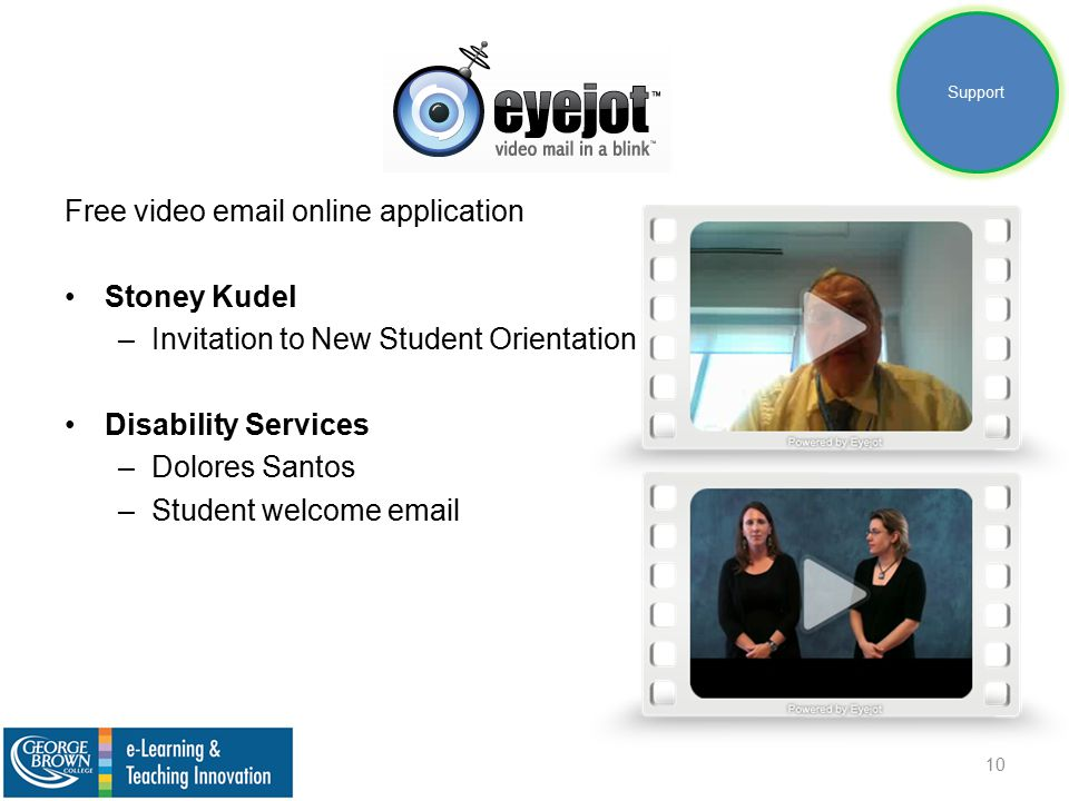 Free video email online application Stoney Kudel –Invitation to New Student Orientation Disability Services –Dolores Santos –Student welcome email 10 Support