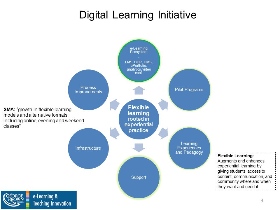 Digital Learning Initiative Flexible learning rooted in experiential practice e-Learning Ecosystem - LMS, CCR, CMS, ePortfolio, analytics, video conf.