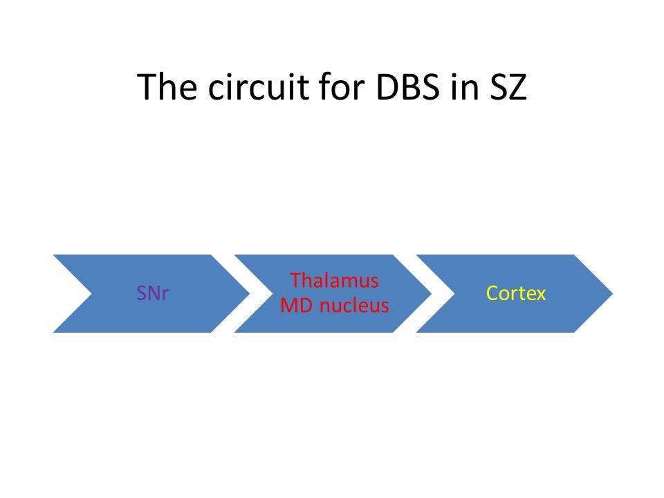 The circuit for DBS in SZ SNr Thalamus MD nucleus Cortex